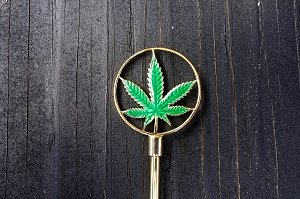 BRASS Stem Cleaner and Tamper Tool w Marijuana Leaf Emblem for Shaka Pipe Original, Proto Pipe, Bubblers, Water Pipes. Made in Hawaii, USA